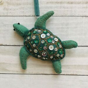 Christmas Ornament Sea Turtle Holiday Felt Embroidery Kit Sequins Green DIY