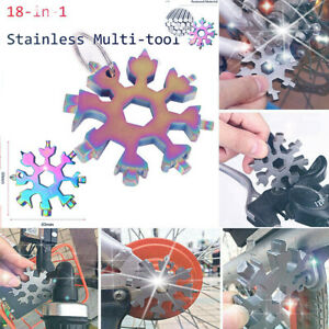 18 In 1 Stainless Tool MultiTool Portable Snowflake Shape Key Chain Screwdriver $3.19