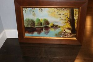 Vintage Framed Painting of River Landscape by CW Lynn $50.00