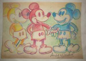 Unique Andy Warhol Mixed technique on old paper quot;Mickey Mousequot; beautiful piece $199.99