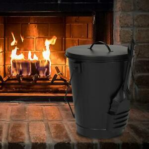 Black Ash Bucket with Lid and Shovel For Fireplaces Fire Pits Wood Burning Stove