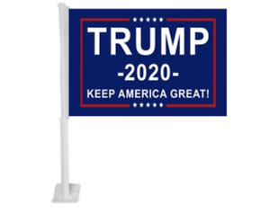 TWO Trump Car Flags 2020 WITH Stick Durable Flag Single Sided 12x18 FREE SHIP