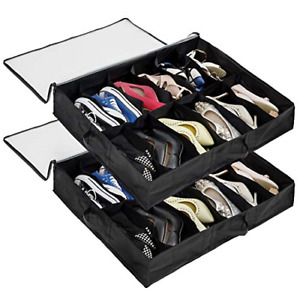 Surblue 12 Pairs Under Bag Shoe Organizer Storage Bag Size 2 Pair Black $42.60