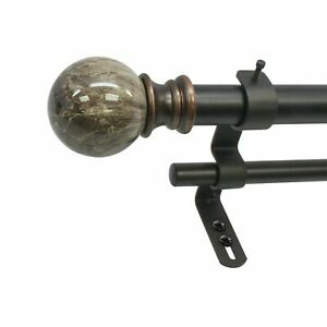 Decopolitan Marble Ball Double Telescoping Drapery Rod Set 72 to 144 Inches $32.59