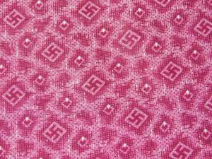 1 2yd 25quot; w Antique Vtg Cotton FABRIC Cranberry Red SWASTIKA Print Late 1800s $29.95