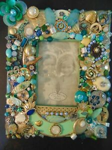 Hand made vintage to modern jewelry picture frame $49.99