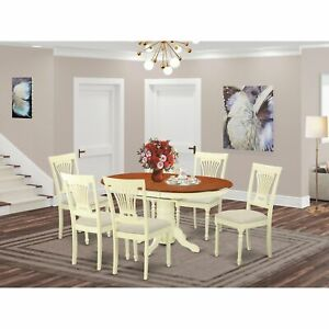 AVPL7 Cream Off white Rubberwood 7 piece Dinette Set Buttermilk Cherry 7 Piece S $875.23