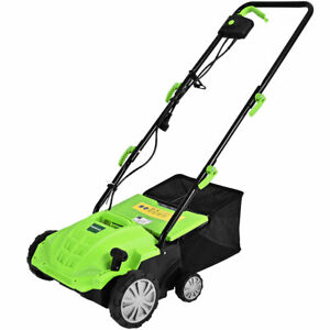 "12Amp Corded Scarifier 13"" Electric Lawn Dethatcher w 40L Collection Bag Green $89.99"