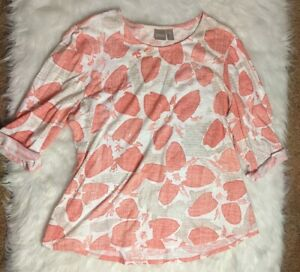 Chicos Size 3 Coral Pink Design Casual Blouse 3 4 Sleeve