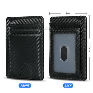 Mens RFID Blocking Leather Slim Wallet Carborn Fiber ID Credit Card Money Holder