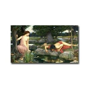 Echo and Narcissus by John Waterhouse Gallery Wrapped Canvas 10 x 18 $84.59