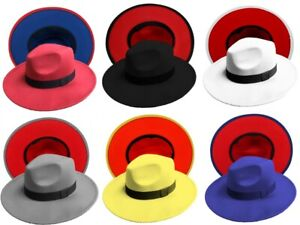Fedora Men Women Felt Vintage Style Wide Brim Panama Upturn 2 Tone Cotton Blend $12.99