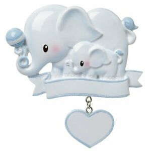 Baby Elephant Blue Personalized Christmas Ornament $12.95