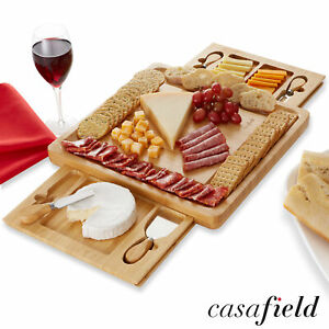 Bamboo Cheese Board and Knife Gift Set Charcuterie Tray Wood Cutting Board