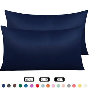 Silk Satin Pillowcases 2 Pack Silky Pillow Cases For Hair and Skin Cushion Cover $6.99