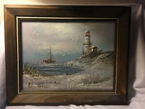 Brian Roche Original Signed Painting Lighthouse Seascape Nautical Framed $120.99