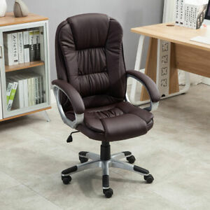 Executive High Back PU Leather Computer Desk Ergonomic Task Office Chair Brown $39.99