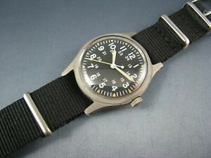 Vintage Hamilton Stainless GG W 113 US Military Hacking Mens Pilots Watch 1982 $495.00