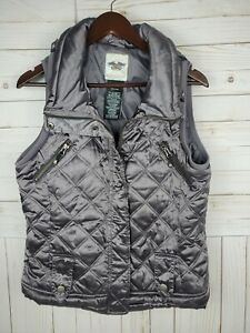 💥Harley Davidson Womens Quilted Vest Medium Gray Silver Motorcycle Used