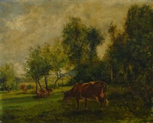 Antique Signed 1880 French Barbizon Oil Painting Gaspard Gobaut $650.00