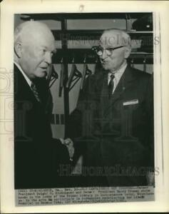 1961 Press Photo Former Presidents Eisenhower amp; Truman Meetup in Truman Library