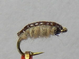 Trout Crack Fly Scud Sow bug nymph fly Brown Tan sz. 16
