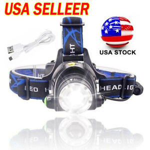 350000Lumens Zoomable Headlamp Rechargeable LED Headlight Torch Camping For US