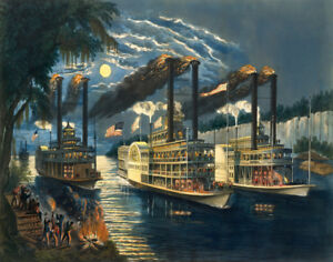 Currier amp; Ives The Champions Of The Mississippi Canvas Print 16 x 20 #3774 $34.99
