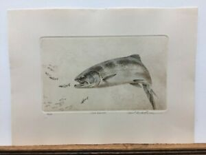 Mike Stidham Coho Salmon Fishing Hand Colored Etching Signed Art Print $79.95