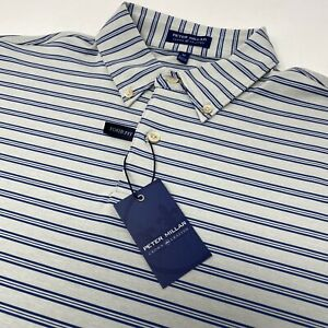 Peter Millar Crown Crafted Tour Fit Men#x27;s Medium Gray Blue Striped Polo Shirt $59.99