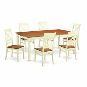 Cream colored White Rubberwood 7 piece Dining Room Set Cream 7 Piece Sets $952.19