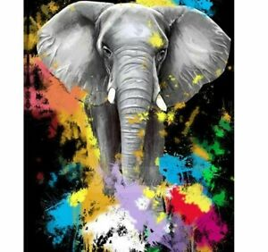 Elephant Color Abstract Diamond Painting Colorful Design DIY Embroidery Portrait $11.69