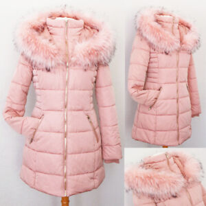 NEW Blush Pink Faux Fur Lined Hooded Cozy Quilted Slim Long Puffer Coat Jacket $62.99