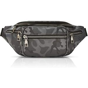 Grey Camouflage Plus Size Fanny Pack With Adjustable Strap 29 49 Inches Waist