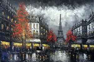 Paris 1890s Eiffel Tower Black amp; White Street Scene 24X36 Oil Painting STRETCHED $111.11