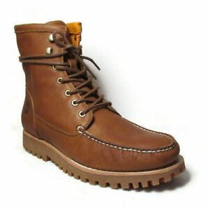 TIMBERLAND Jacksons Landing Men#x27;s 6quot; Brown Leather Moc Toe Boots A2CAF