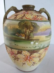 VINTAGE Morimura Bros Nippon Moriage Hand Painted Matte Floral Scenic Vase