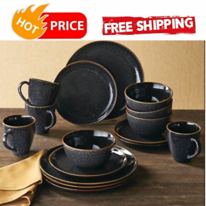 Set Dinnerware 16piece Dishes Plate Mug Vintage Classic Modern Service Black New $54.99