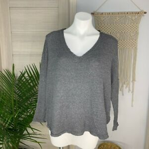 Out From Under Womens Oversized Super Soft V Neck Grey Thermal Top Size Small $22.39