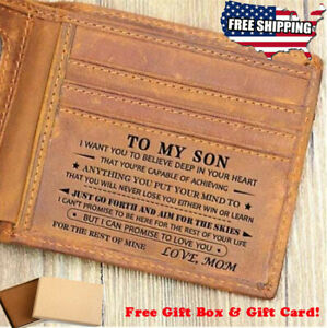 To My Son Engraved Leather Wallet from Love Mom Birthday Graduation Xmas Gift