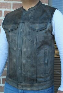Men#x27;s Motorcycle Club Leather Vest Concealed Carry Arms Distressed Brown