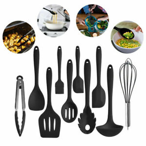 10pcs Premium Silicone Cooking Kitchen Utensil Set Serving Tools Heat Resistant $17.99
