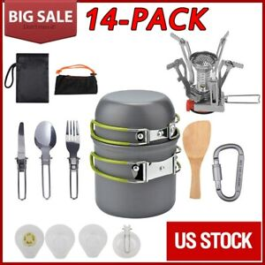 14Pcs Outdoor Camping Cookware Stove Hiking Backpacking Gear Set Cooking Picnic
