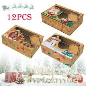 12pcs Christmas Cookie Gift Kraft Boxes Clear Window Candy Arts Package Paper $24.19