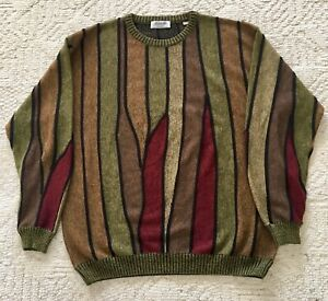 Vintage Marcello Men#x27;s Cable Knit Sweater Merino Wool Blend Italy XL Coogi Style $20.00