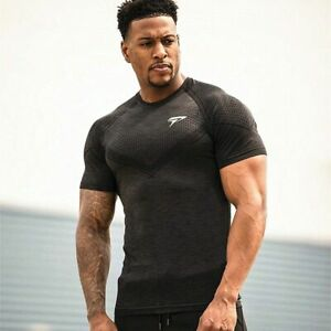 Sports Wear Gym T Shirt Men Short Sleeve Dry Fit Compression Top Male Workout $22.75