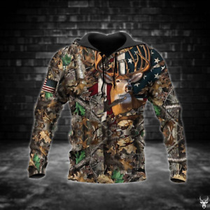 DEER HUNTING CAMO BROWN FLAG 3D All Over Printed Shirts Pullover Hoodie S 4XL