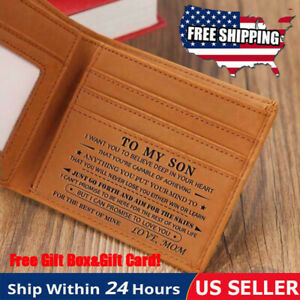 To My Son from Mom Engraved Leather Wallet Birthday Graduati Christmas Xmas Gift