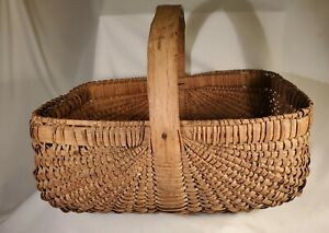 Handmade Antique Basket Very Well Done Medium Size Great Find $52.50