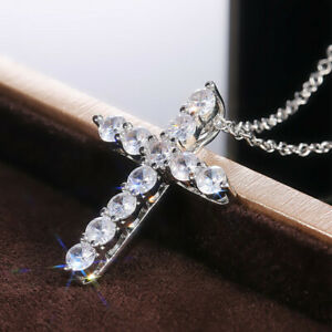 Fashion Cross 925 Silver Necklace Pendants White Sapphire Women Wedding Jewelry